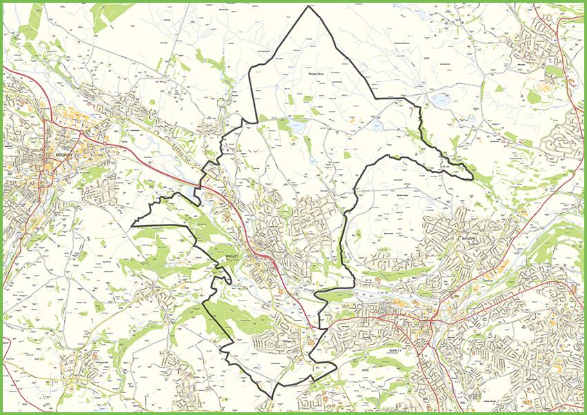 Small map of Bingley parish