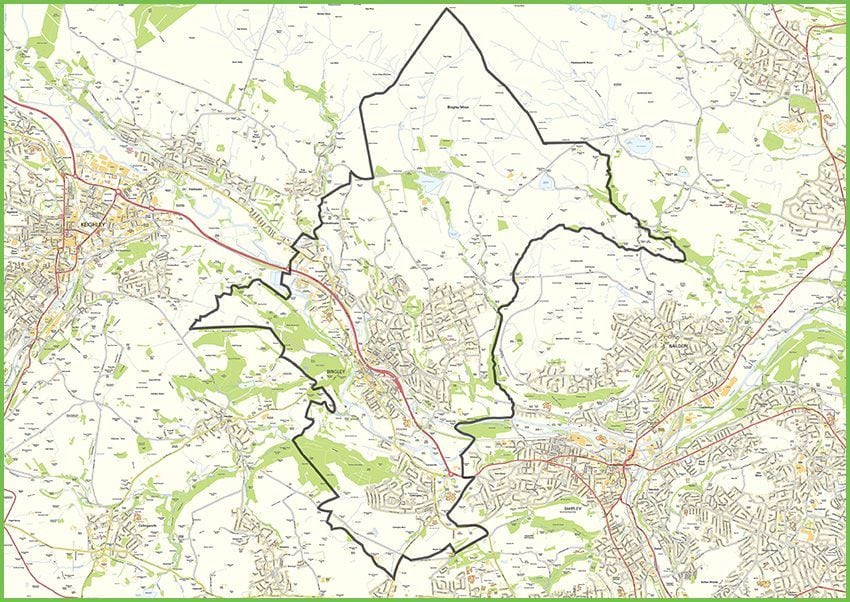 Small map of Bingley parish