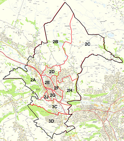Map of Bingley Town Council Wards