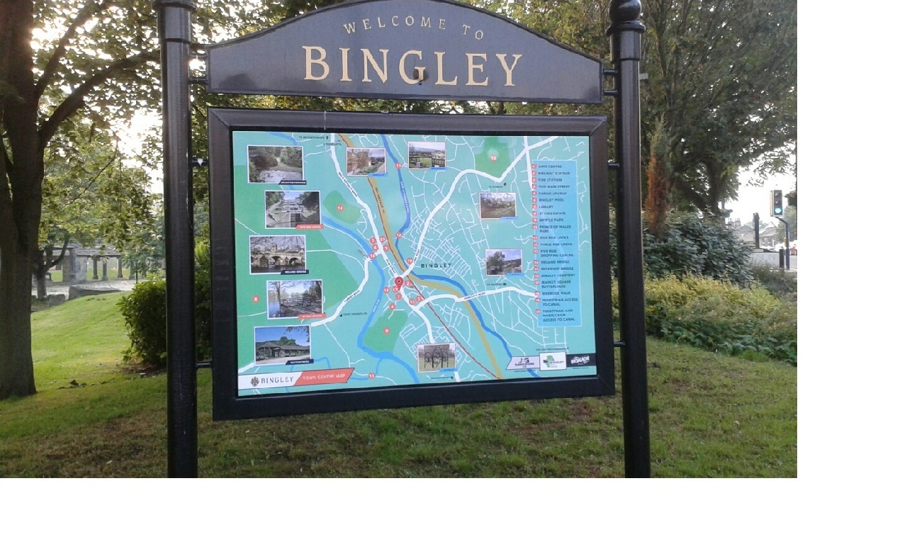 Bingley town map in Jubilee Gardens