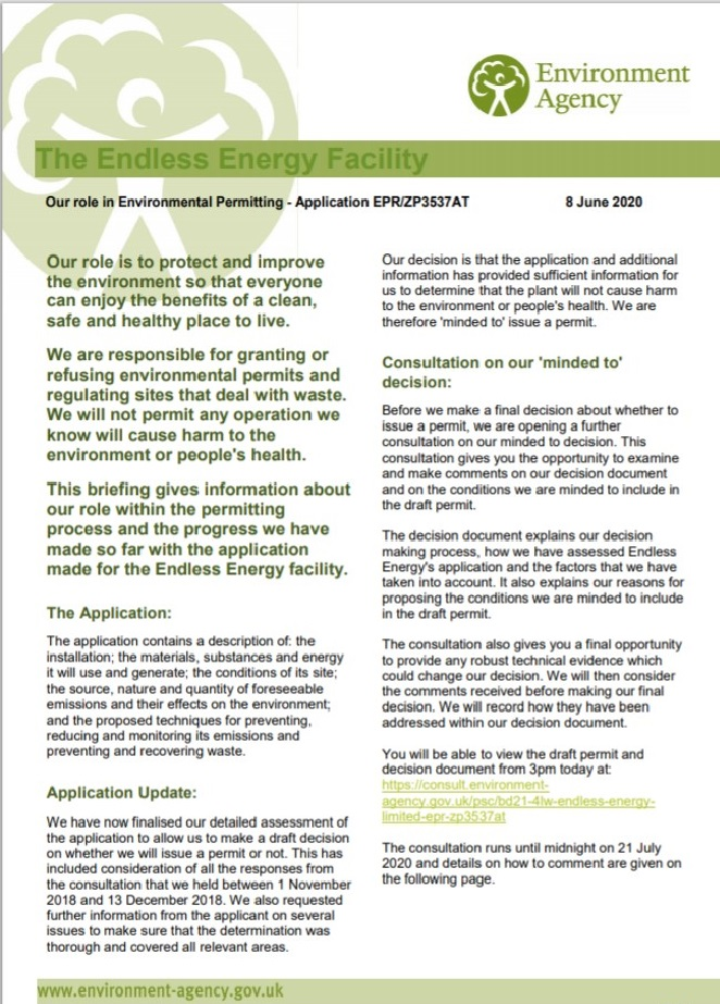 Environment Agency notice about the incincerator