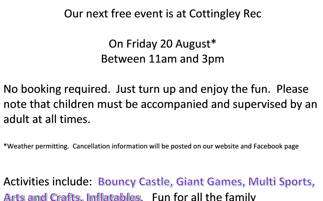 Play in the Park – Friday 20th August – Cottingley Rec