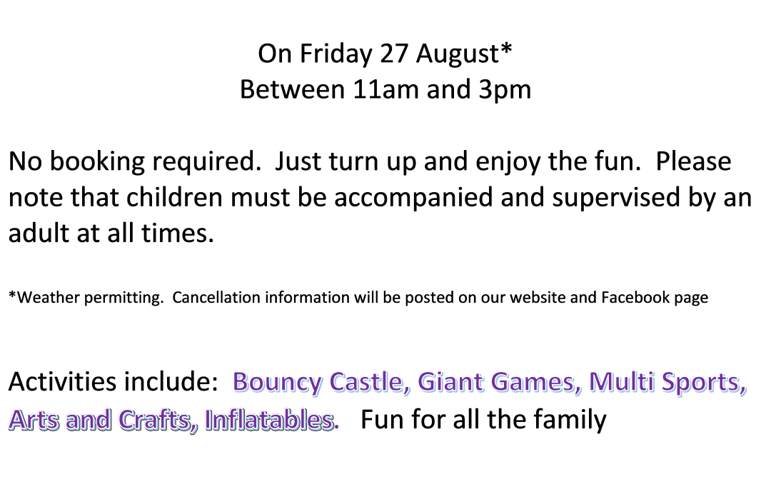 Play in the Park – Friday 27th August – Eldwick Rec