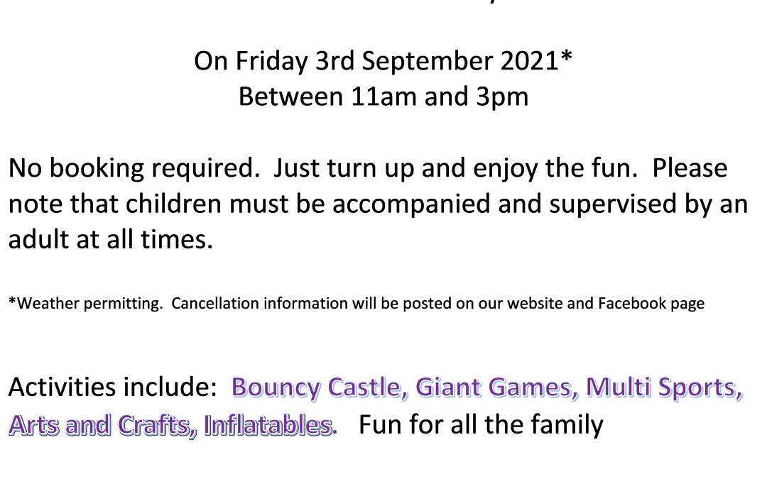 Play in Park Information - 3 Sept 2021